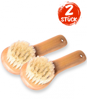 Wooden Facial Brush with 100% Natural Bristles - 2 Pieces
